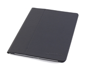 DEVICEWEAR Ridge - Thin Black Vegan Leather, 6 Position Flip Stand, Magnetic On/Off Switch for iPad 9.7 2018/2017/Pro 9.7/Air2/Air - Black