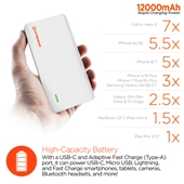 HyperGear USB-C + Adaptive Fast Charge 12000mAh Portable Battery - White / Gray
